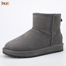 INOE Classic real sheepskin leather wool fur lined man ankle winter snow boots for men short winter shoes flats black grey 35 44
