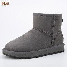 Inoe clássico real pele de carneiro couro de lã forrado homem tornozelo inverno botas de neve para homens sapatos de inverno curto apartamentos preto cinza 35 44