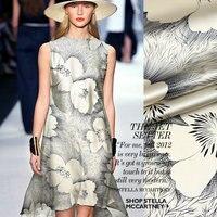 Galsang flower Printed Silk charmeuse Satin Fabric pure silk fabric