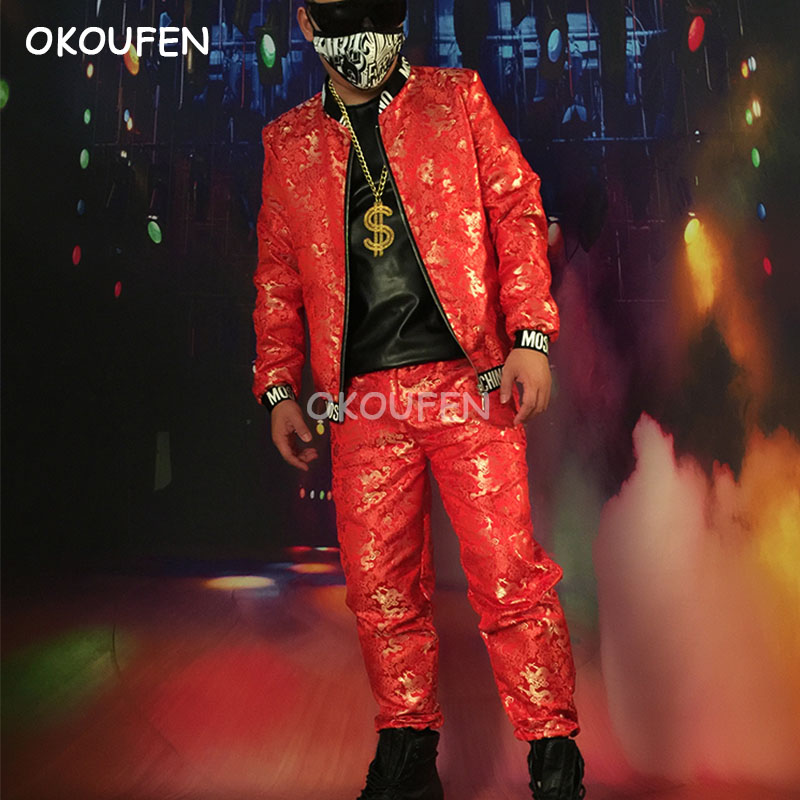Chinese style Red Embroidery Gold Dragon Print Baseball Uniforms Nightclub bar hairdresser stage performance clothing set
