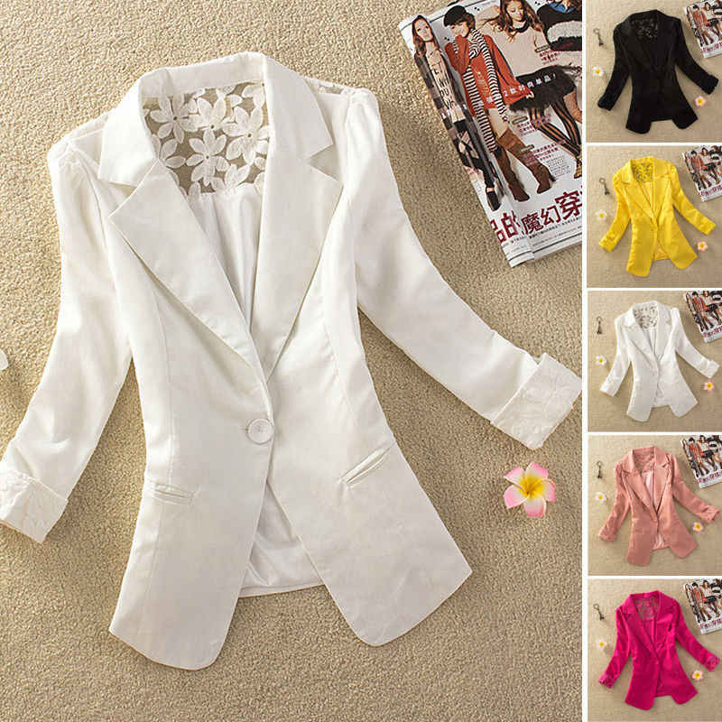 6e9ad66c492 Detail Feedback Questions about Autumn Women Short Coat One Button Lace  Suit Jacket Coat Solid 3 4 Sleeve Office Workwear Outwear Plus Size S M L XL  XXL on ...