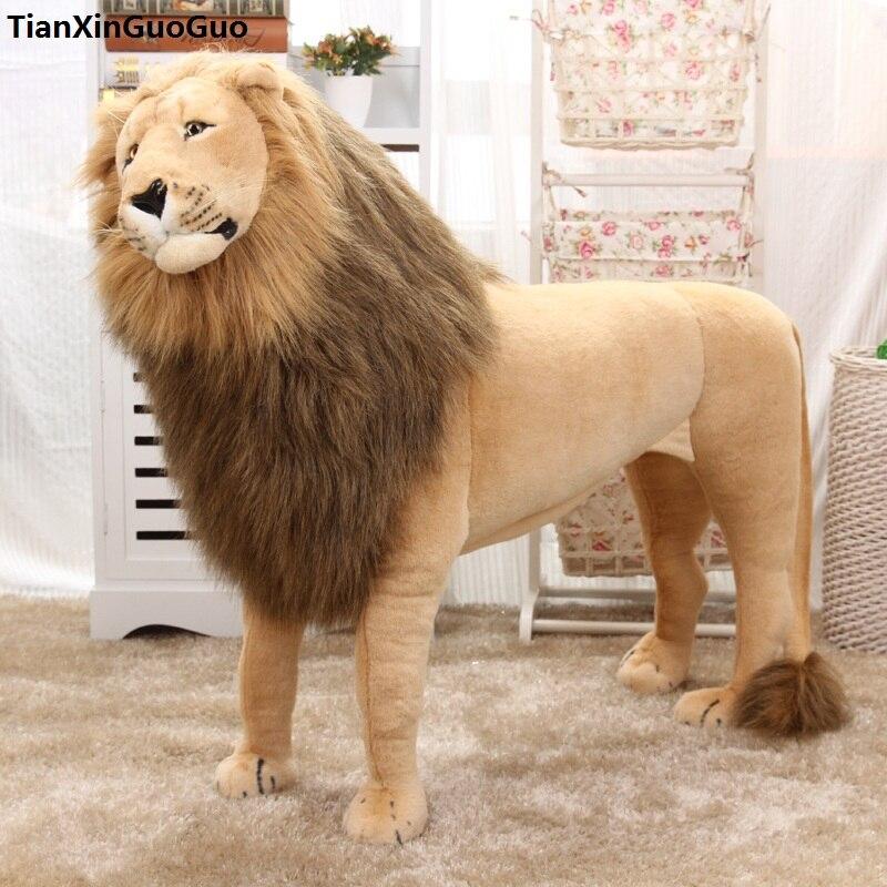 Simulation lion peluche jouet grand 110x75 cm debout lion poupée peut être monté, cadeau d'anniversaire s0473