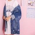 Rey luminoso A Estrenar Vaqueros Otoño Chaquetas 2016 Más Tamaño Chaqueta Larga Capa de la Rebeca de La Manga Completa Jeans de Mezclilla de La Vendimia chaqueta de Las Mujeres
