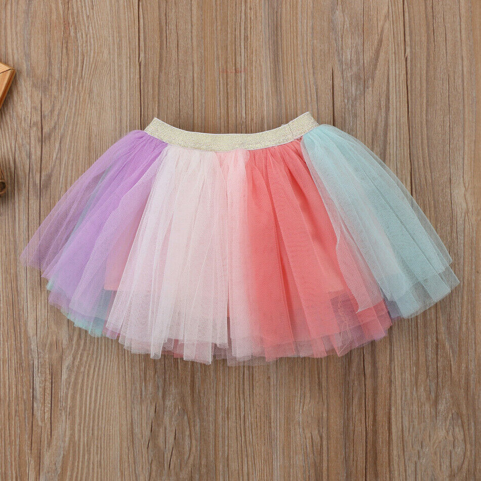 Cute Kids Baby Girls Cotton Unicorn Short Sleeve Tops Short T shirt Rainbow Lace Tutu Mini Skirt Dress Outfits Clothes Set 2019 in Clothing Sets from Mother Kids