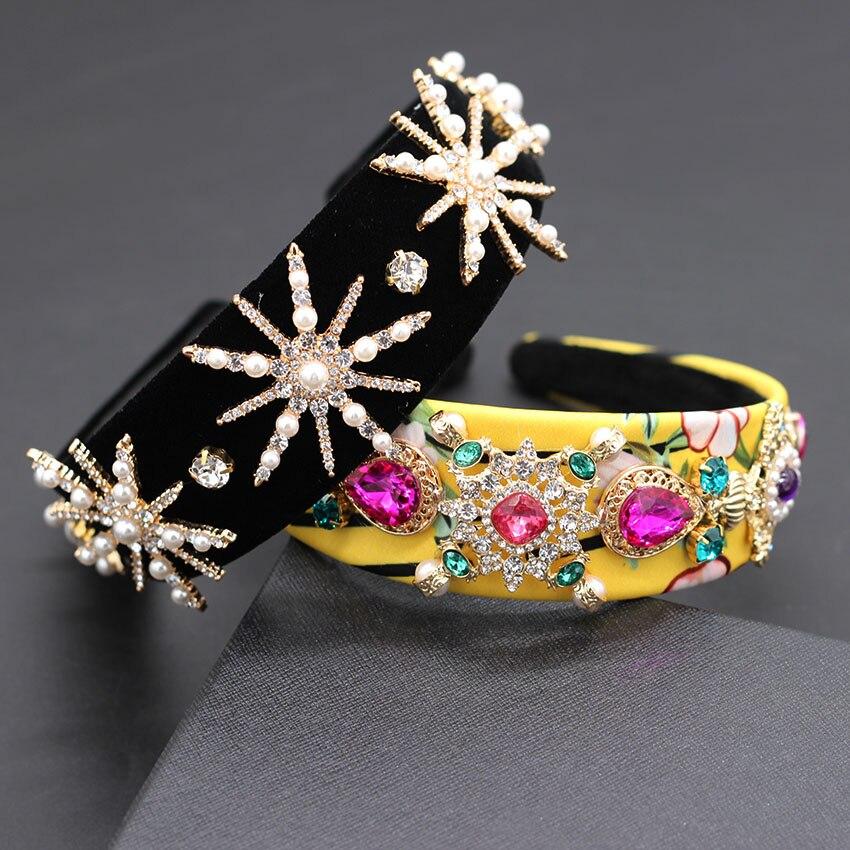 Color Rhinestone Star Headband Baroque Heavy Fabric Fabric Color Particles Rhinestones Stars Pearl Fashion Dance Headband  868