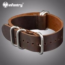 Ремешок для наручных часов из натуральной кожи, 20 мм, армейский ремешок ZULU, 5 колец, серебряные пряжки, коричневые ремешки для часов, аксессуары