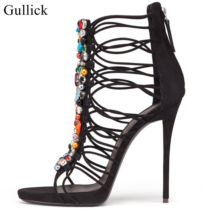 2138f113a8b Gullick Colorful Crystal Embellished High Heels Sandals Peep Toe Cut ...