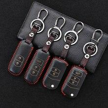 Leather Car Remote Key Case Cover For Mazda 2 3 5 6 8 Axela CX-3 CX-5 CX-7 CX-9 MX-5 CX5 RX8 ATENZA 2014 2015 2016 Accessories