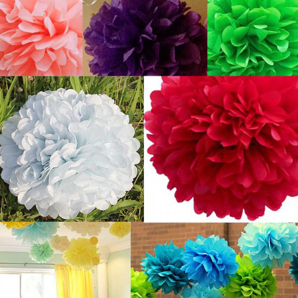 10pcs Wedding Tissue Paper Flower Ball Party Outdoor Decoration
