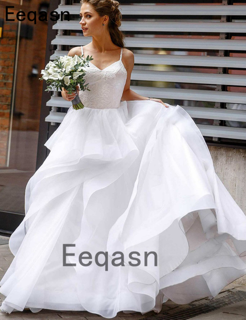 577383b37bb New Flowy Wedding Dress 2019 Elegant A-line Spaghetti Straps V Neck Organza Bridal  Gown vestido novia Plus Size