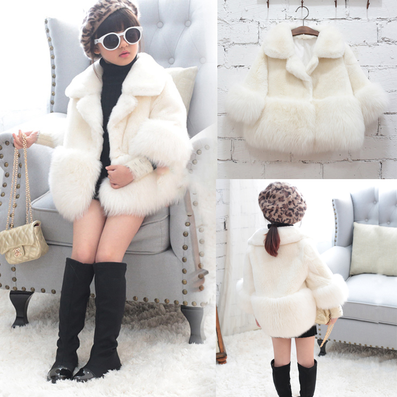 New 2018 Girls Winter Faux Fur Brand Fur Coat for Girls Long Sleeve Formal Soft Party