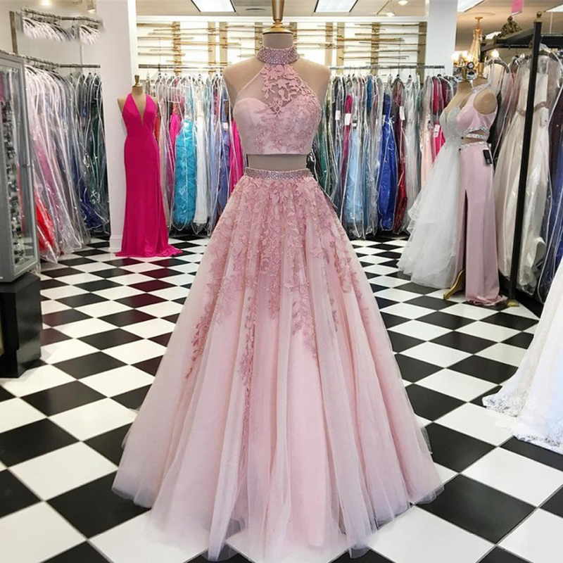 Two Pieces Long   Prom     Dresses   2019 Elegant High Neck Sheer A-line Lace Floor Length Pink African Evening   Dress   Robe de soiree