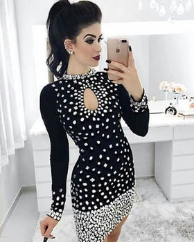 2019 Mini Dress Sexy Celebrity Full Diamonds See-Through Womene O Neck Night Club Hollow Out Body con Party Dresses Wholesale