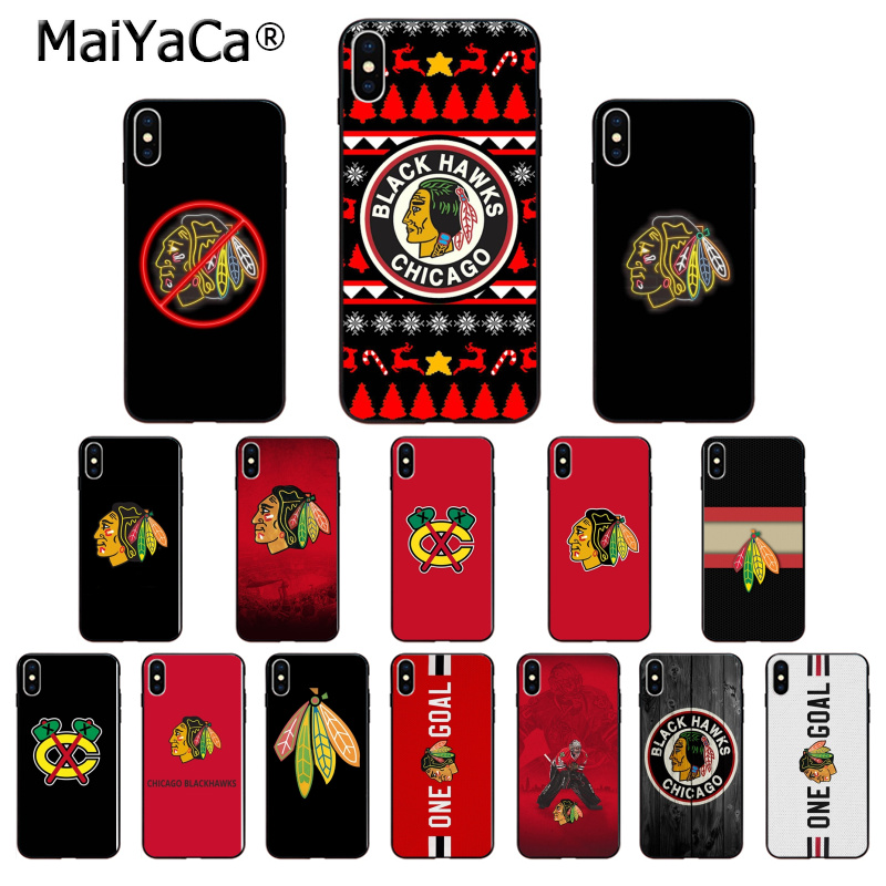MaiYaCa Chicago Blackhawks TPU Soft Phone Accessories Phone Case for iPhone X XS MAX 6 6S 7 7plus 8 8Plus 5 5S XR
