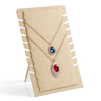 8 Card Slots Linen Material Display Shelf Board Pendants Jewelry Display Stand Necklaces Board Jade