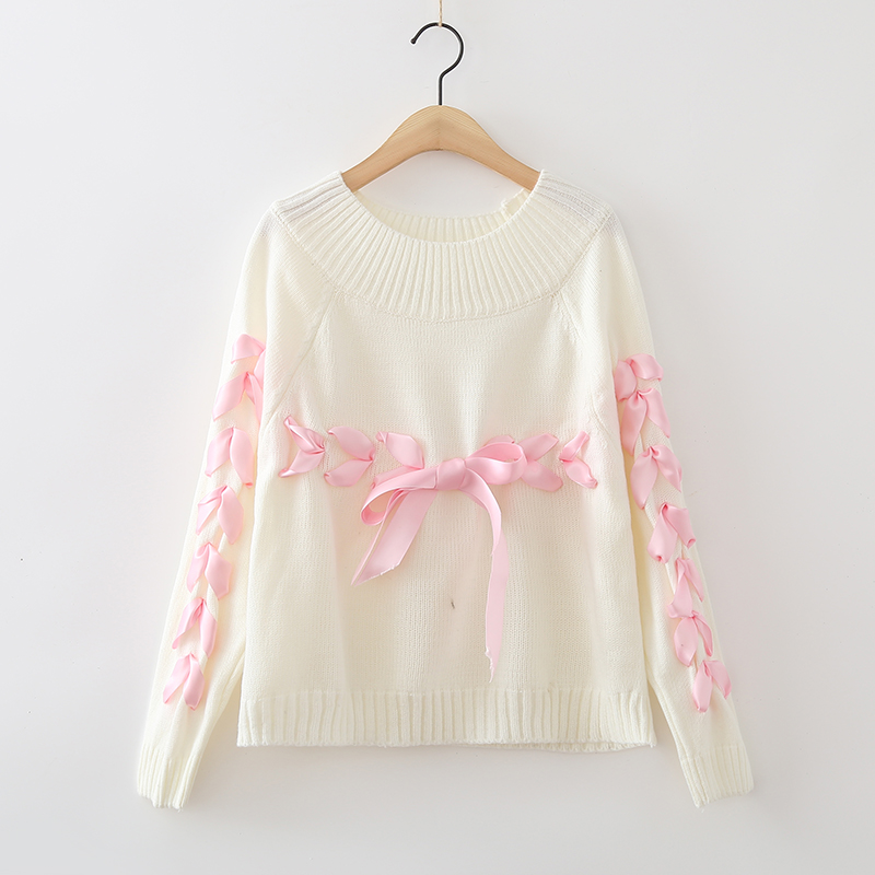 Harajuku Women Bow Ribbon Sweater Young Woman Loose Soft Knitting Sweaters  Jumpers Teenager Female Christma Sweater Clothes-in Pullovers from Women s  ... 6b2706431