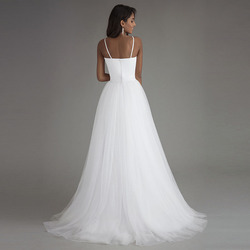 LORIE Spaghetti Strap Beach Wedding Dresses 2019 Vestido Noiva Praia Simple White Tulle Casamento Sashes Bridal Gown Custom made 3