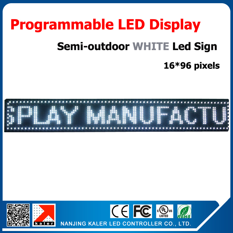 P10 16 96 pixels Semi out door White color Programmable and Scrolling Message LED Display Screen
