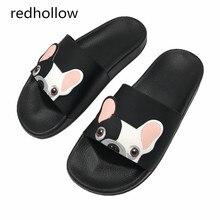 Fashion Animal Bulldog Slippers Summer Sandals Flip Flops Beach Women Cartoon Shoes Outside Cute Funny Bathroom Floor Home