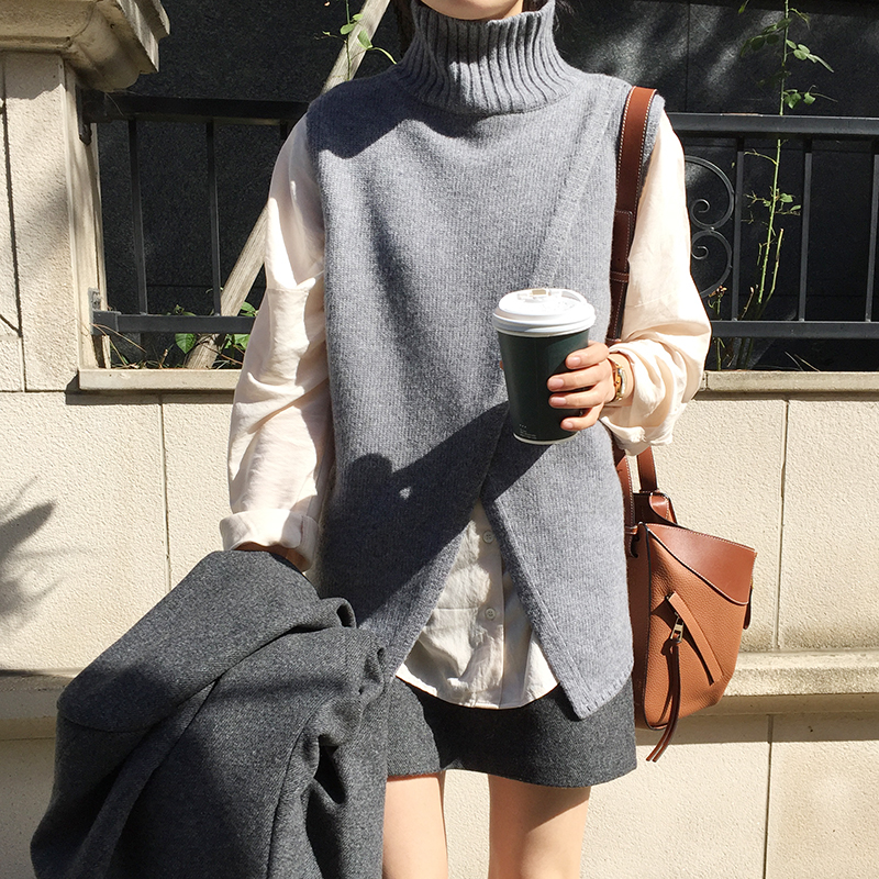 Autumn And Winter Wild Casual Loose Fork High Neck Vest Sweater 2019 New Korean Sexy Fashion Sweater Women's Clothing