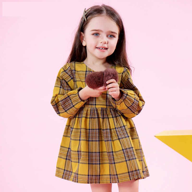 As Meninas da criança Vestido 2018 Das Crianças Vestidos de Manga Longa Vestidos de Princesa Para Crianças Roupas Xadrez Infantil De Menina Robe Enfant Fille