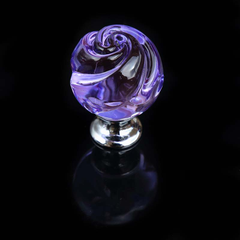 Creative Fashion Rose Glass Drawer Win Cabinet Knobs Pulls Silver Gold Red  Purple Dresser Kitchen Cabinet Door Handles Knobs In Cabinet Pulls From  Home ...