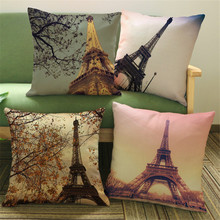 Vintage Style Romantic France Eiffel Tower Paris Sofa Cushion Covers for Car Chair Throw Pillow Case 45cmx45cm