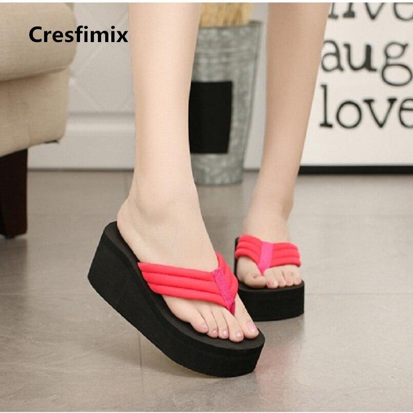 Cresfimix women casual high heel flip flops lady black spring & summer beach flip flops female cool comfortable flip flops a443 цена