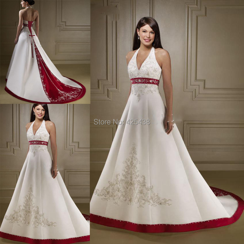 Popular cheap red and white wedding dresses buy cheap for When to buy wedding dress