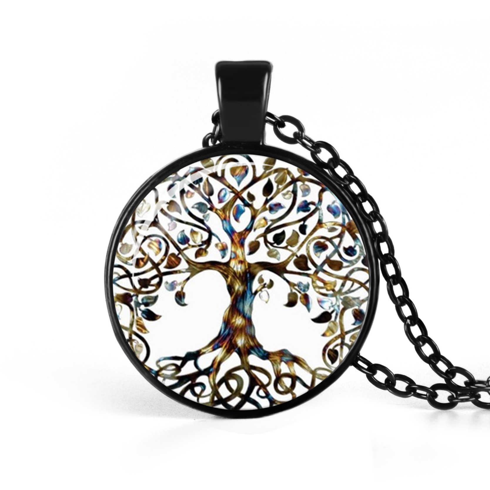 Life Tree จี้สร้อยคอแก้ว Cabochon สร้อยคอเงินสีดำ Bronze Vintage Choker สร้อยคอผู้หญิงเครื่องประดับ