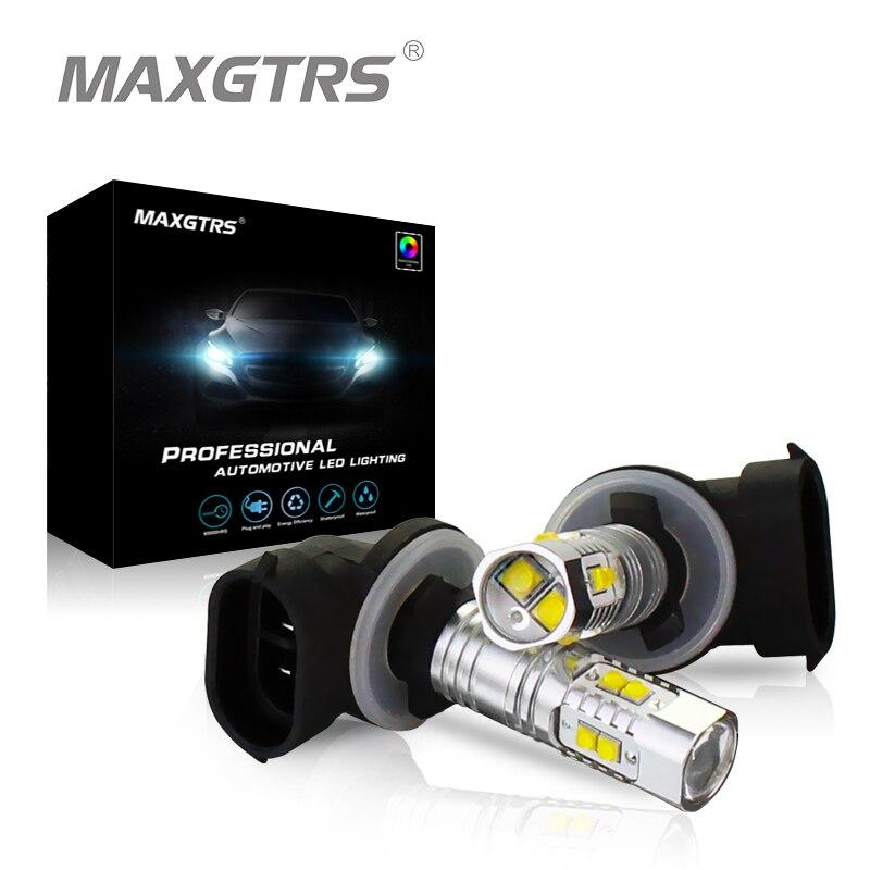 2 x h27 881 880 LED 30 Вт 50 Вт светодиодные лампы cree чип автомобилей дневного Бег дальнего света туман DRL Объектив проектора лампа белый красный
