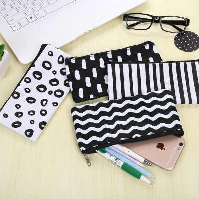1PC Brief Black White Stripes Canvas Pencil Case Stationery Storage Organizer Bag For School Office Supply