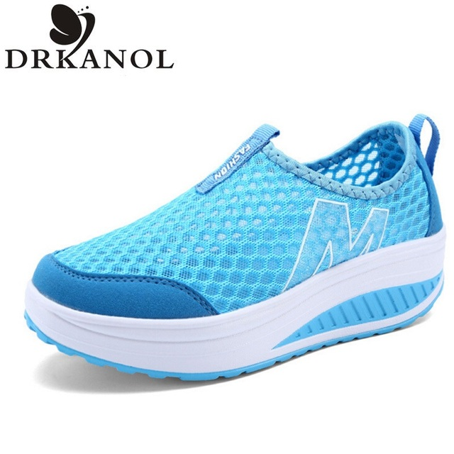 Fashion Breathable Air Mesh Women Casual Shoes Lightweight Platform Shoes Summer Women Shoes Height increase Swing Shoes