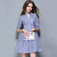 NEW Fashion Cute Printing Stripe Design Decorative Corsage Woman S Navy Shirt Style Dress