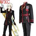 Anime D. Gray man Allen Walker Cosplay Traje Uniforme Preto Vermelho Extravagante outfit Calça Casaco Cinto Fantays Carnaval WXC