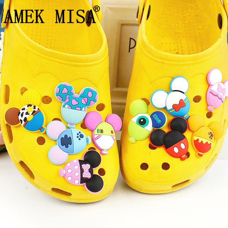 Balloon Shape Shoe Charm Decoration 10 Pcs PVC Pinkycolor Garden Shoe Buckle Accessories Fit Bands/Bracelets/Croc/Wristbands 10