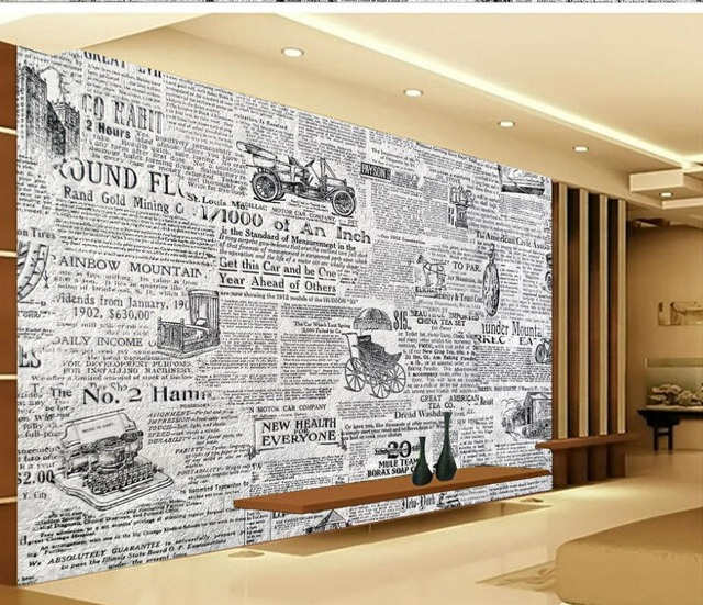 3d wallpaper for room Retro black and white newspaper background