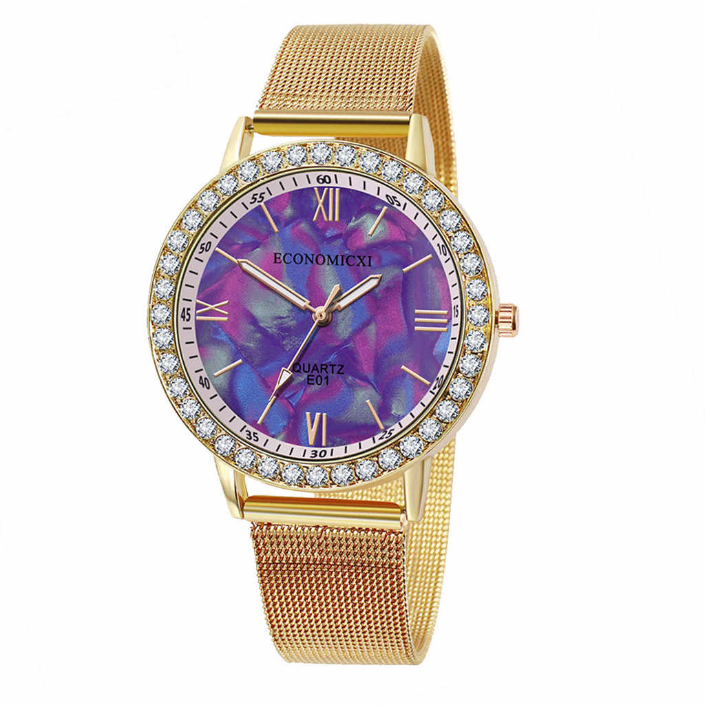 אופנה נשים של קוורץ שעון פרח ריינסטון שעון יד יוקרה רשת להקת מתנת שעון קיר מודרני עיצוב גדול часы жнские 50