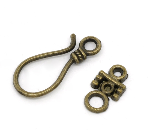 DoreenBeads Zinc Metal Alloy Toggle Clasps Hook Antique Bronze 23mm X10mm( 7/8