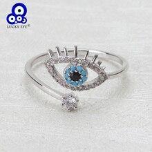 Кольца Lucky Eye от сглаза, медное микро кольцо с кубическим цирконием, ювелирные изделия, регулируемое женское кольцо, подарки, ювелирные изделия EY3472