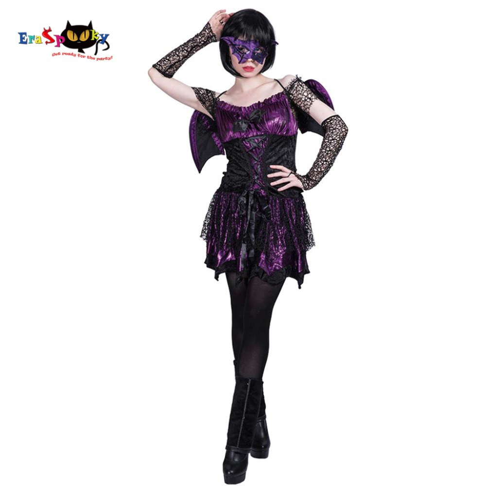 Women Sexy Bat Girl Angel Villain Demon Costume Devil -4791