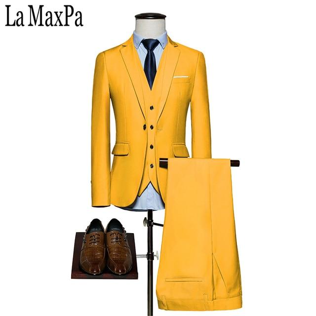 LA Maxpa (veste + pantalon + gilet) nouvelle marque solide couleur hommes  costume costume 0430ce71c55