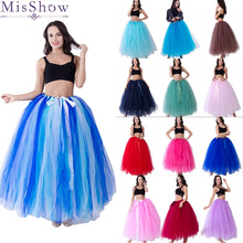 MisShow High Quality 3 Layers 100cm Summer Long Tulle Skirt Fashion Pleated TUTU Skirts Womens Lolita Petticoat Bridesmaids