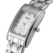 Onlyou reloj marca de relojes de pulsera para mujeres rhinestones de acero rectángulo elegante vestido de las señoras reloj de cuarzo reloj pulsera 81088