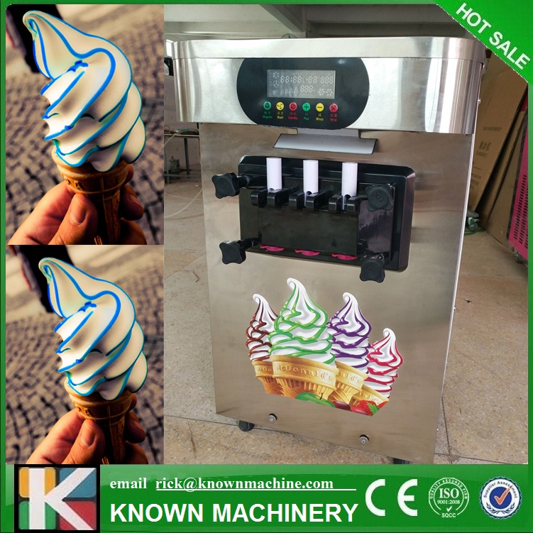 Table Top Mini Soft Ice Cream Vending Machine 3 Flavors For Europe Country To Use By Air To Ait Port With Emglish Language