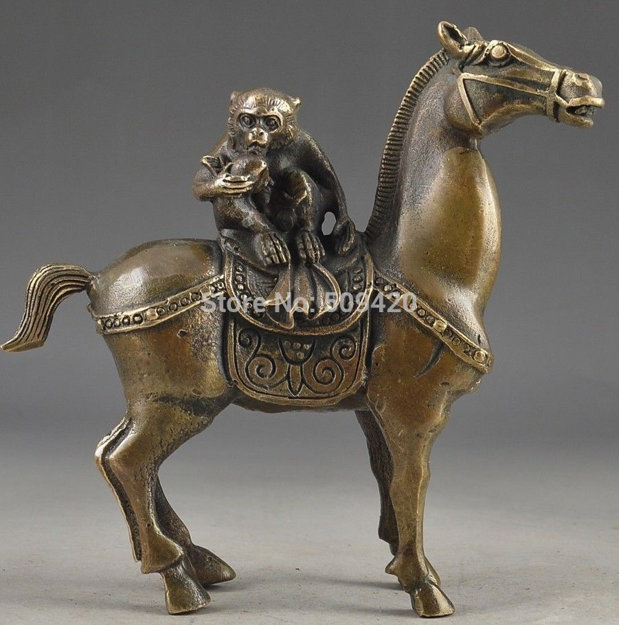 China Vintage Brass Handwork Hammered The Monkey Riding Horse Lucky Statue vintage stone vintage metal christmas tree statue carving - title=