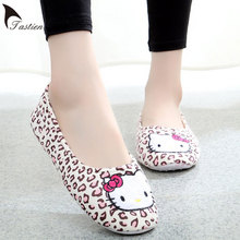 TASTIEN Leopard Hello Kitty Slippers Spring Fall Home Shoes Lady Indoor Flooring Cotton Shoes Pantufas Pantufa Warm House Shoes
