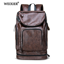 цены WEIXIER 2019 New Fashion Vintage PU leather Men Backpack High capacity Backpack  high quality PU Leather Casual Travel SchoolBag