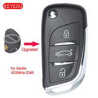 Keyecu Upgraded Flip Remote Control 3 Button Fob 434MHz ID46 Chip for Peugeot Xantia SX9 Blade Car Key