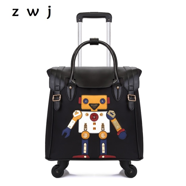 2018 New Pu Handbag Suitcase Trolley Bag Rolling Luggage Robot Cartoon Travel Bags